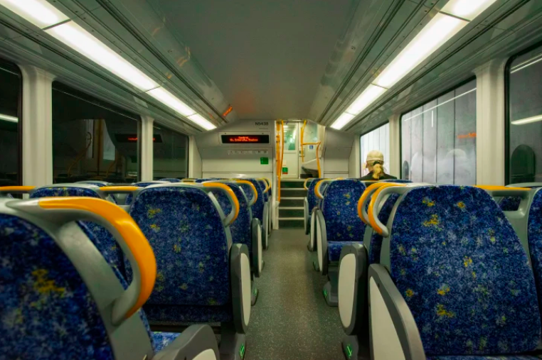 Inside a Sydney train carriage