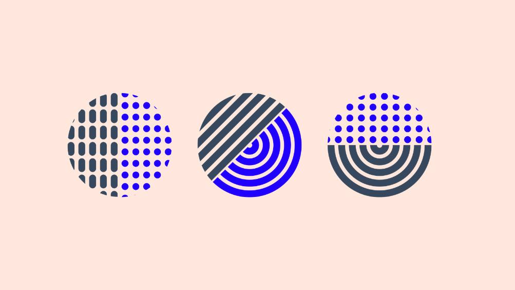 graphic image of three cirlces in blue and black stripes and dots, against a light pink background
